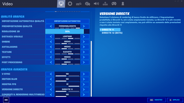 Fortnite - Versione DirectX